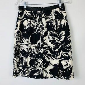 Madison Studio Silk Skirt Sz 6 A Line Black White